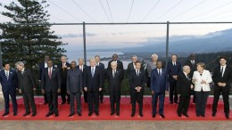 A handout photo made available by Quirinale Palace Press Office shows shows Italian President Sergio Mattarella (C) poses with head of states during a family photo prior to the dinner at the G7 Summit in Taormina, Sicily island, Italy, 26 May 2017. EPA, PAOLO GIANDOTTI, QUIRINALE PALACE PRESS OFFICE-PA HANDOUT, EDITORIAL USE ONLY