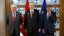 FILE PHOTO: Turkish President Recep Tayyip Erdogan (C) poses with European Council President Donald Tusk (R) and European Commission President Jean-Claude Juncker (L) in Brussels, Belgium. EPA, FRANCOIS LENOIR / POOL