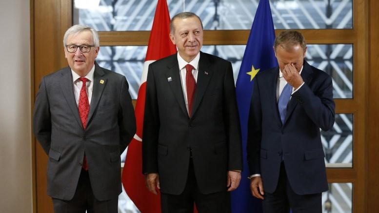 FILE PHOTO: Turkish President Recep Tayyip Erdogan (C) poses with European Council President Donald Tusk (R) and European Commission President Jean-Claude Juncker (L) in Brussels, Belgium. EPA, FRANCOIS LENOIR / POOL