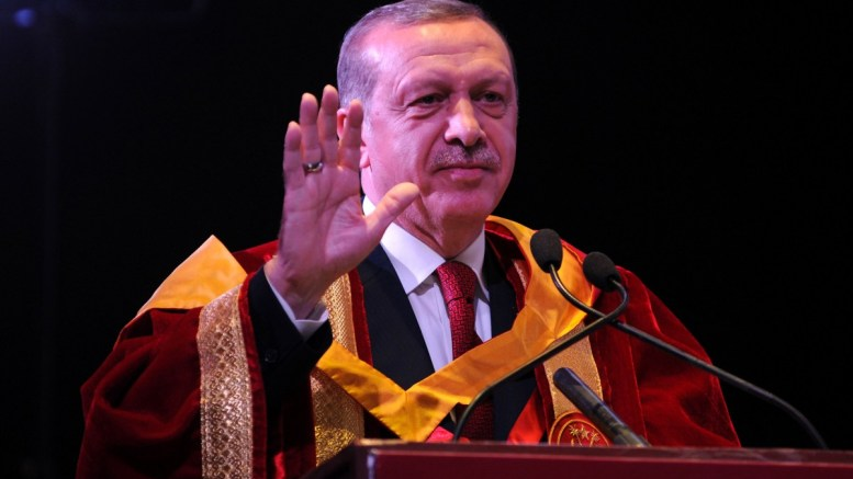 Turkish President Recep Tayyip Erdogan speaks at Jamia Millia Islamia University in New Delhi, India. EPA, STR