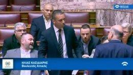Ο βουλευτής της ναζιστικής Χρυσής Αυγής, Κασιδιάρης. Φωτογραφία via ΕΡΤ, Κανάλι της Βουλής