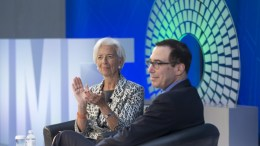 FILE PHOTO. Managing Director of the International Monetary Fund (IMF) Christine Lagarde (L) and US Treasury Secretary Steven Mnuchin (R) at the IMF headquarters in Washington, DC, USA. EPA, MICHAEL REYNOLDS