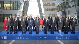 NATO member countries leaders line up for a group photo at the NATO summit in Brussels, Belgium, 25 May 2017. NATO countries' heads of states and governments gather in Brussels for a one-day meeting. FILE PHOTO. EPA/ARMANDO BABANI