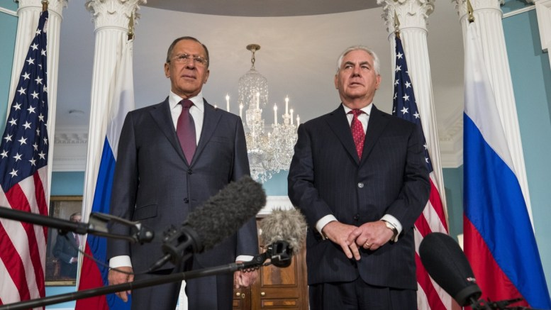 FILE PHOTO. U.S. Secretary of State Rex Tillerson (R) and Russian Foreign Minister Sergey Lavrov (L) speak to the media at the State Department in Washington, DC, USA. EPA/JIM LO SCALZO