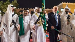 FILE PHOTO. A handout photo made available by the Saudi Press Agency shows US President Donald J. Trump (2-R) with King of Saudi Arabia Salman bin Abdulaziz Al Saud (2-L) during a welcome ceremony with traditional sword dancers at Murabba Palace, in Riyadh, Saudi Arabia. FILE PHOTO. EPA/SAUDI PRESS AGENCY HANDOUT HANDOUT EDITORIAL USE ONLY/NO SALES