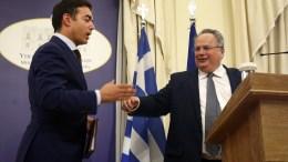 File Photo: Ο υπουργός Εξωτερικών Νίκος Κοτζιάς  με τον  Νίκολα Ντιμιτρόφ κάνουν δηλώσεις στο ελληνικό υπουργείο Εξωτερικών. ΑΠΕ-ΜΠΕ, ΣΥΜΕΛΑ ΠΑΝΤΖΑΡΤΖΗ