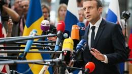 FILE PHOTO. French President Emmanuel Macron speaks to the media. EPA/STEPHANIE LECOCQ