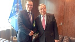 FILE PHOTO: UN Secretary-General Antonio Guterres, left, speaks next to UN Secretary-General's Special Adviser on Cyprus, Espen Barth Eide, right, in New York. Photo via Twitter