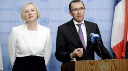 Ο Έσπεν Μπαρθ Άιντα και η Ελίζαμπεθ Σπέχαρ του ΟΗΕ. Φωτογραφία via Twitter