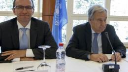 UN Secretary-General on Cyprus Espen Barth Eide (L) and UN Secretary-General Antonio Guterres (R) attend a meeting of the conference on Cyprus. FILE PHOTO. EPA/SALVATORE DI NOLFI
