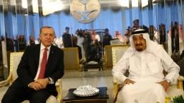 File Photo: Turkish President Reccep Tayyip Erdogan (L) meeting with Saudi King Salman bin Abdulaziz Al Saud (R) in Jeddah, Saudi Arabia, 23 July 2017. EPA, TURKISN PRESIDENTAL PRESS OFFICE HANDOUT, EDITORIAL USE ONLY