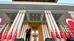 Turkish President Recep Tayyip Erdogan speaking during a ceremony to mark the first anniversary of the failed Coup attempt on 15 July, in front of the new monument of martyrs at Presidential Palace in Ankara, Turkey early 16 July 2017. EPA, PRESIDENTIAL PRESS OFFICE HANDOUT, EDITORIAL USE ONLY