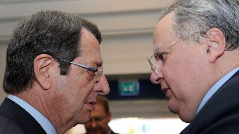 File Photo: Ο Πρόεδρος της Δημοκρατίας κ. Νίκος Αναστασιάδης με τον Έλληνα Υπουργό Εξωτερικών Νίκο Κοτζιάς στη Διάσκεψη για το Κυπριακό (6η μερα), στο Crans Montana της Ελβετίας, Τρίτη 4 Ιουλίου 2017. ΚΥΠΕ, ΚΑΤΙΑ ΧΡΙΣΤΟΔΟΥΛΟΥ