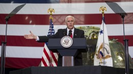 Vice President Mike Pence addresses NASA employees at the Vehicle Assembly Building at NASA's Kennedy Space Center (KSC) in Cape Canaveral, Florida, USA, 06 July 2017. EPA, NASA, Aubrey Gemignani HANDOUT MANDATORY CREDIT
