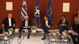Ο Πρόεδρος της Δημοκρατίας Προκόπης Παυλόπουλος (2Α), ο πρωθυπουργός Αλέξης Τσίπρας (3Α), ο πρόεδρος της Νέας Δημοκρατίας Κυριάκος Μητσοτάκης (4Α), και ο πρόεδρος της Βουλής Νίκος Βούτσης (Α), συνομιλούν στη δεξίωση για την 43η επέτειο από την αποκατάσταση της Δημοκρατίας στο Προεδρικό Μέγαρο, Αθήνα, τη Δευτέρα 24 Ιουλίου 2017. ΑΠΕ ΜΠΕ, ΣΥΜΕΛΑ ΠΑΝΤΖΑΡΤΖΗ