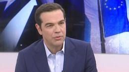 Ο πρωθυπουργός Αλέξης Τσίπρας στην τηλεόραση του Alpha. Φωτογραφία via Alpha TV