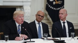 US President Donald J. Trump (L), with Microsoft CEO Satya Nadella (C) and Amazon CEO Jeff Bezos (R), at the State Dining Room of the White House grounds in Washington, DC. EPA, SHAWN THEW