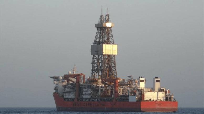 """Το πλωτό γεωτρύπανο """"West Capella"""" της Total - ENI. Φωτογραφία: www.marinetraffic.com"""