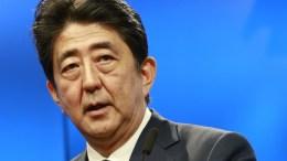 Japan's Prime Minister Shinzo Abe during EU Japan leaders summit meeting in Brussels, Belgium. EPA/OLIVIER HOSLET