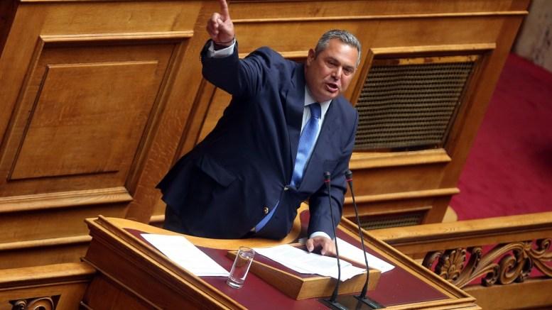 File Photo: Ο πρόεδρος των ΑΝΕΛ και υπουργός Εθνικής Αμυνας Πάνος Καμμένος απευθύνεται στην ολομέλεια της Βουλής. ΑΠΕ-ΜΠΕ, ΟΡΕΣΤΗΣ ΠΑΝΑΓΙΩΤΟΥ