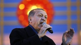File Photo: Turkish President Recep Tayyip Erdogan speaks during a rally after referendum victory, at the Presidential Palace in Ankara, Turkey. EPA, TUMAY BERKIN