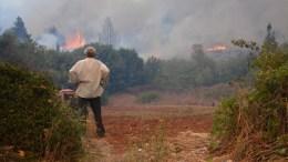 Πολίτης κοιτάζει την πυρκαγιά τη Δευτέρα 28 Αυγούστου 2017, στη Ζάκυνθο. Για τρίτη συνεχόμενη ημέρα είναι παραδομένα στις φλόγες τα πανέμορφα δάση της ορεινής Ζακύνθου, με την πύρινη λαίλαπα να έχει κάψει χιλιάδες στρέμματα πεύκων, αλλά και ελαιοκαλλιεργειών και στάβλων με ζώα. Η Πυροσβεστική Υπηρεσία αντιμετωπίζει τις συνεχείς αναζωπυρώσεις στην περιοχή των Μαριών, με όλη τη δύναμη να βρίσκεται στα πύρινα μέτωπα. Στόχος είναι να τεθεί η πυρκαγιά υπό μερικό έλεγχο έως το βράδυ, για να μην ξαναζήσουν οι κάτοικοι τον χθεσινό εφιάλτη, όπου οι φλόγες περικύκλωσαν σπίτια και περιουσίες κατοίκων της περιοχής. Στην Ζάκυνθο το τελευταίο 24ωρο εκδηλώθηκαν φωτιές στις περιοχές Καμπί, Πελιλόμπι, Σκούτα, Αναφωνήτρια, Καπελέτι - Άνω Βολίμες, Αργάσι και Αγαλάς. ΑΠΕ-ΜΠΕ, ΚΩΣΤΑΣ ΣΥΝΕΤΟΣ