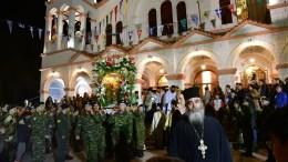 File Photo: Στρατιωτικό άγημα μεταφέρει την εικόνα της Ευαγγελίστριας την παραμονή της εορτής του Ευαγγελισμού της Θεοτόκου στο Ναύπλιο, Παρασκευή. ΑΠΕ-ΜΠΕ, ΜΠΟΥΓΙΩΤΗΣ ΕΥΑΓΓΕΛΟΣ