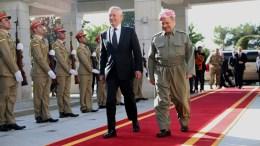 FILE PHOTO: President of the Iraqi Kurdistan Region Masoud Barzani (R) receives US secretary of Defense James Mattis (L) in Erbil, northern Iraq, 22 August 2017. EPA, GAILAN HAJI