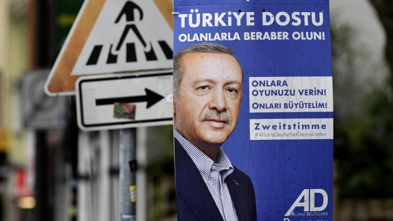 A campaign poster of the Alliance of German Democrats (ADD) party for the German federal election 2017 shows the portrait of Turkish President Recep Tayyip Erdogan and a slogan (in Turkish) reading 'Friends of Turkey - stand together with them, give them your votes, grow with them!' in Cologne, Germany. The pro-Turkish, pro-Erdogan ADD party only stands for election in the German North Rhine-Westphalia state for the general elections which are scheduled to be held on 24 September. EPA, SASCHA STEINBACH