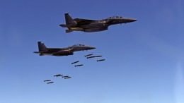 FILE PHOTO. A handout photo made available by the Ministry of Defense of South Korea on 31 August 2017 shows  F-15K planes dropping MK-82 bombs. EPA/SOUTH KOREA AIR FORCE HANDOUT HANDOUT HANDOUT EDITORIAL USE ONLY/NO SALES