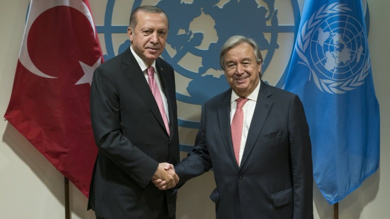 Turkish President Recep Tayyip Erdogan, left, is greeted by United Nations Secretary-General Antonio Guterres before a meeting, at UN headquarters in New York, New York, USA, 19 September 2017. EPA, Craig Ruttle / POOL
