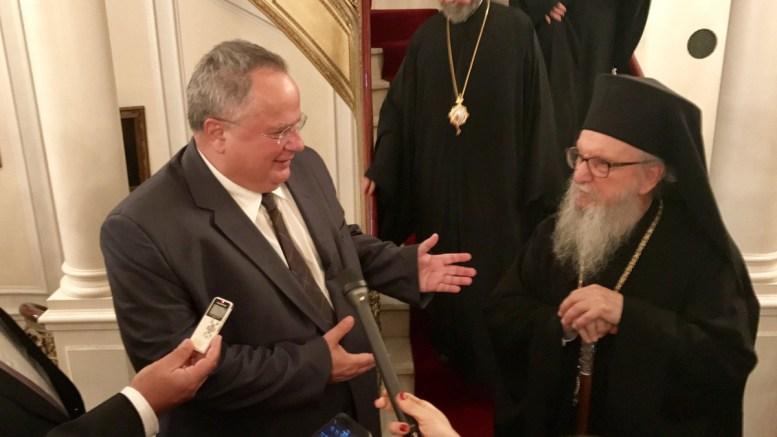 File PHOTO: Ο υπουργός Εξωτερικών Νίκος Κοτζιάς με τον Αρχιεπίσκοπο Αμερικής Δημήτριο. Φωτογραφία Σπύρος Σιδέρης