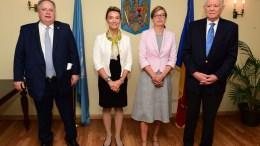 Ο υπουργός Εξωτερικών Νίκος Κοτζιάς (Α) συναντήθηκε με τους ομολόγους του, της Βουλγαρίας, Ekaterina Zaharieva (2Α), της Κροατίας, Marija Pejcinovic Buric (2Δ), και της Ρουμανίας, Teodor Melescanu (Δ), στο πλαίσιο των εργασιών της 72ης Συνόδου της Γενικής Συνέλευσης του ΟΗΕ, την Παρασκευή 22 Σεπτεμβρίου 2017, στην έδρα των Ηνωμένων Εθνών στη Νέα Υόρκη. ΑΠΕ-ΜΠΕ/ΑΠΕ-ΜΠΕ/ΠΑΝΑΓΟΣ ΔΗΜΗΤΡΗΣ
