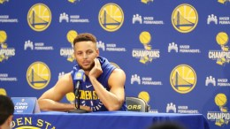 A picture made available on 23 September 2017 shows Golden State Warriors player Stephen Curry speaking to the media during the Warriors' Media Day at Rakuten Performance Center in Oakland, California, USA, 22 September 2017. Curry announced during the press conference that he was not interested in visiting the White House as the NBA Champion team does annually. US President Donald J. Trump responded 23 September 2017 with a tweet saying that Curry's invitation is withdrawn. EPA, DANIEL MURPHY