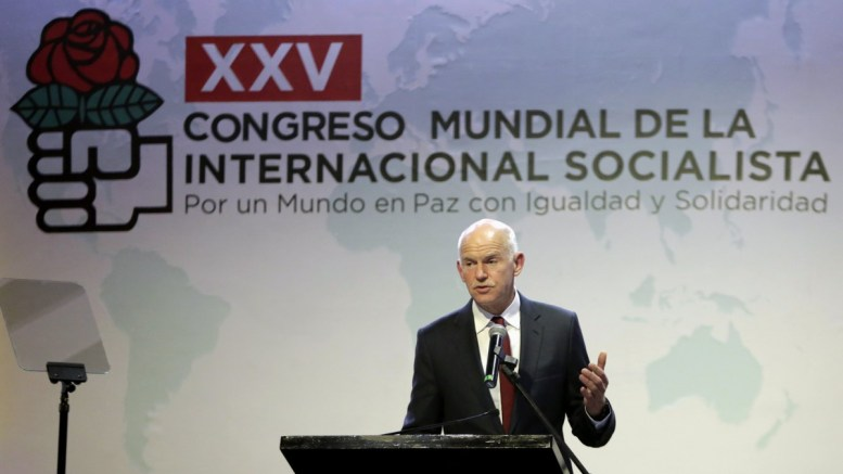 President the Socialist International (SI) Greek George Papandreou delivers a speech during the commencement of the XXV Congress of the Socialist International (SI) in Cartagena, Colombia, 02 March 2017. EPA/RICARDO MALDONADO ROZO