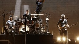 Irish band U2, leaded by singer Bono (2-R), performs on stage during their only concert in Spain of 'U2: The Joshua Tree Tour 2017' to conmemorate the thirty anniversary of their fifth legendary album held at the Olimpic Stadium in Barcelona, Spain, 18 July 2017.  EPA/ABDREU DALMAU
