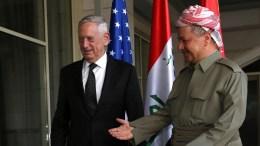 File Photo: President of the Iraqi Kurdistan Region Masoud Barzani (R) receives US secretary of Defense James Mattis (L) in Erbil, northern Iraq. FILE PHOTO. EPA, GAILAN HAJI