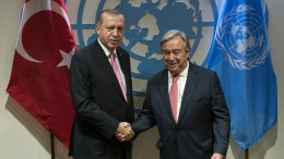 File Photo: Turkish President Recep Tayyip Erdogan, left, is greeted by United Nations Secretary-General Antonio Guterres before a meeting, at UN headquarters in New York, New York, USA, 19 September 2017. EPA, Craig Ruttle / POOL