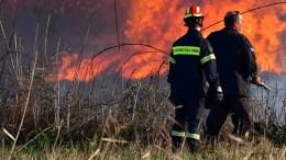 Πυροσβέστες προσπαθούν να θέσουν υπό έλεγχο πυρκαγιά. ΦΩΤΟΓΡΑΦΙΑ ΑΡΧΕΙΟΥ. ΑΠΕ-ΜΠΕ/ΜΠΟΥΓΙΩΤΗΣ ΕΥΑΓΓΕΛΟΣ