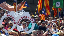 FILE PHOTO. General view of the demonstration to support the referendum under the logo 'Referendum is democracy' held at Montjuic, Barcelona, Catalonia, Spain. EPA/TONI ALBIR