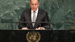 Russian Foreign Affairs Minister Sergey  Lavrov, speaks  during the General Debate of the 72nd United Nations General Assembly at UN headquarters in New York, New York, USA, 21 September 2017. The annual gathering of world leaders formally opened on 19 September 2017, with the theme, 'Focusing on People: Striving for Peace and a Decent Life for All on a Sustainable Planet.'  EPA/ANDREW GOMBERT