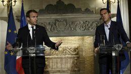 O Γάλλος πρόεδρος Μακρόν στην συνέντευξη Τύπου με τον Έλληνα πρωθυπουργό. ΑΠΕ-ΜΠΕ/ΓΙΑΝΝΗΣ ΚΟΛΕΣΙΔΗΣ