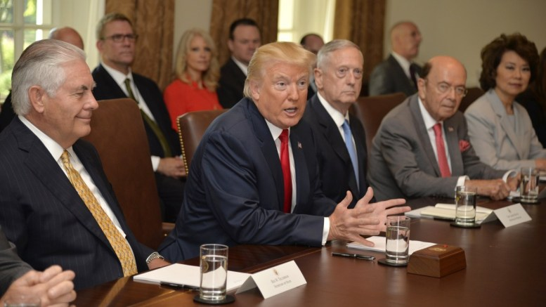 FILE PHOTO. US President Donald J. Trump (C) speaks during a cabinet meeting with Secretary of State Rex Tillerson (L), Defense Secretary James Mattis (L-3). EPA, MIKE THEILER / POOL