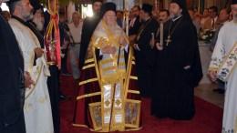 Ο Οικουμενικός Πατριάρχης Βαρθολομαίος (Κ) στην Ζάκυνθο. ΑΠΕ ΜΠΕ, STR