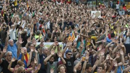 File Photo: People take part in a demonstration held in Gerona, Catalonia, northeastern Spain, 03 October 2017, to protest against the police actions during a general strike in Catalonia as a protest against the Spanish Government measures to avoid the celebration of the referendum last 01 October 2017. EPA, Robin Townsend