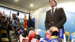 FILE PHOTO. Dismissed Catalan regional President Carles Puigdemont attends a press conference at Press club in Brussels, Belgium. EPA/OLIVIER HOSLET