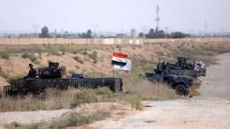 Iraqi federal police forces take up position in Rashad town, southern Kirkuk, north of Iraq, 13 October 2017.. EPA, MURTAJA LATEEF