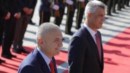 President of the Republic of Kosovo Hashim Thaci (R) and his Albanian counterpart Ilir Meta before their meeting in Pristina, Kosovo, 11 October 2017. Albania's President Ilir Meta is on one-day official visit in Kosovo.  EPA/VALDRIN XHEMAJ