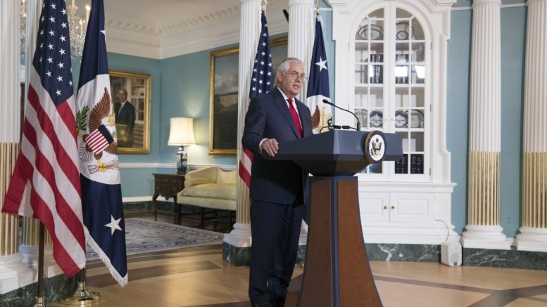 File Photo: US Secretary of State Rex Tillerson delivers remarks at the State Department in Washington, DC, USA. EPA, MICHAEL REYNOLDS