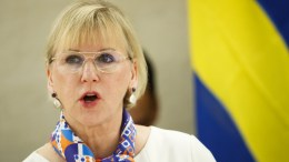 File Photo: Swedish Foreign Minister Margot Wallstrom delivers a speech at the high-level pledging event for the humanitarian crisis in Yemen at the European headquarters of the United Nations in Geneva, 25 April 2017. EPA, VALENTIN FLAURAUD